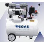 Бесшумный компрессор PG-1100/безмасляный.Производительность 250 л/мин, тип-поршневой ,мощность 1,1 кВт, объем ресивра 50 л , максимальное давление 8Бар,напряже